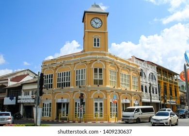 PHUKET, THAILAND - MAY 19, 2019 : Old buildings in Sino Portuguese style in Phuket Old Town.