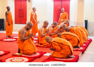 PHUKET, THAILAND - MAY 29 : The monk in Buddhism confess one's misdemeanors in Church on May 29, 2018 in Phuket Province, THAILAND.