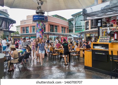 Phuket, Thailand - May 2nd 2018: Tourists in cafe and restaurants in Jung Ceylon, Patong. This is the major shopping mall.