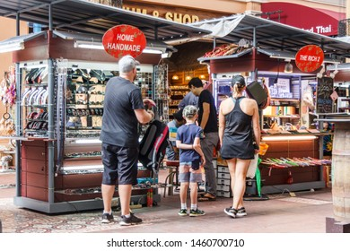 Phuket, Thailand - May 2nd 2018: Tourists shopping in the Jung Ceylon shopping centre, Patong. This is the areas major shopping mall.