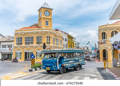 PHUKET, THAILAND -MAY 3, 2017, Phuket town, Thailand: Phuket old town with old buildings in Sino Portuguese style restoration is a very famous tourist destination of Phuket.