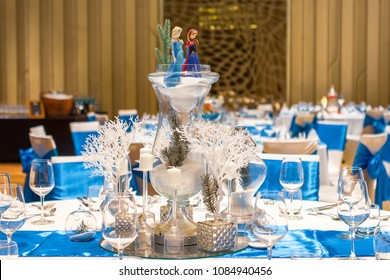 Phuket, Thailand – May 3, 2018: Disney Frozen themed table setting decorated on centerpiece at the hotel's  gala dinner party.