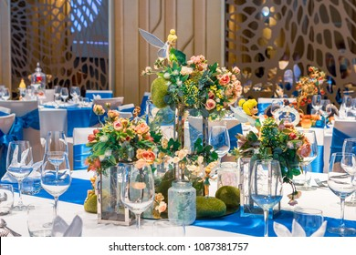 Phuket, Thailand – May 3, 2018: Walt Disney's fairy tale themed table setting decorated on centerpiece at the hotel's gala dinner party.