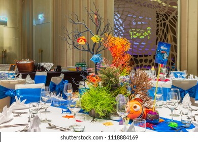 Phuket, Thailand – May 3, 2018: Walt Disney's Nemo themed table setting decorated on centerpiece at the hotel's gala dinner party.
