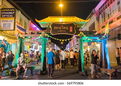 "Phuket, Thailand - May 8, 2016: Sign of ""Lard Yai"". There is old town night market, a famous walking street in Phuket, Thailand."