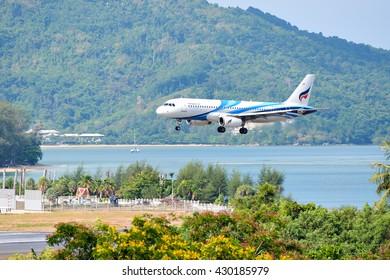 Phuket, Thailand - May 8,2016 :Bangkok airway ,Airbus a320, HS-PPJ prepare for landing at Phuket international airport.