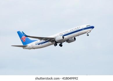Phuket, Thailand - May 8,2016 :China southern airline ,boeing 737 ,take off  at phuket airport