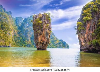 Phuket Thailand nature. James Bond island in Phang Nga bay. Thai scenic exotic landscape of tourist destination famous place - Image