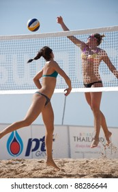 PHUKET, THAILAND - NOVEMBER 1: Shauna Mullin (R) of Great Britain in action during training session on day 1 of the SWATCH FIVB World Tour 2011 on November 1, 2011 at Karon Beach in Phuket, Thailand