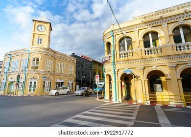 Phuket, Thailand - November 14, 2020 : Phuket old town with Building Sino Portuguese architecture at Phuket Old Town area Phuket, Thailand.