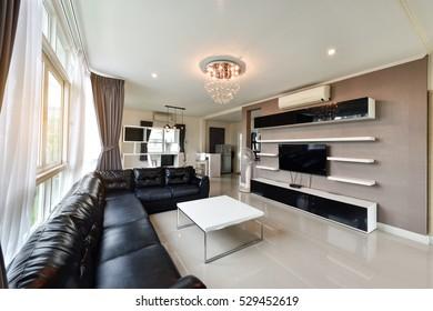 PHUKET, THAILAND - NOVEMBER 25 : Beautiful living room interior at the home for a new family on NOVEMBER 25, 2016, Thailand.