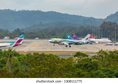 PHUKET, THAILAND - NOVEMBER 29, 2016: Airbus A320-232, HS-PGV of Bangkok Airways is landing at Phuket International Airport