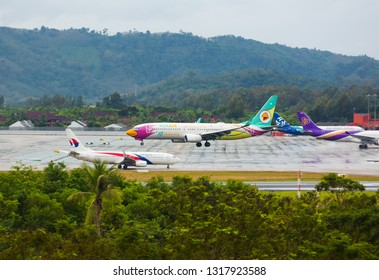 PHUKET, THAILAND - NOVEMBER 30, 2016: Boeing 737-86J, HS-DBQ of Nok Air (10th Anniversary Livery) is landing and approach at Phuket International Airport