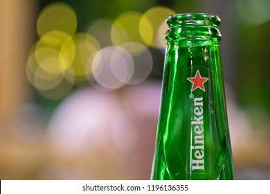 PHUKET, THAILAND - OCT 1, 2018: bottle of cold heineken beer, well known for its signature red star and green bottle