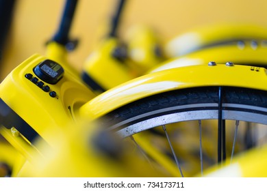 PHUKET, THAILAND - OCT 14, 2017: yellow bicycles in bike sharing project, scan to go, launch on Sep 20, managed by government, supported by Obike and Ofo, bicycle rental companies, phuket, Thailand