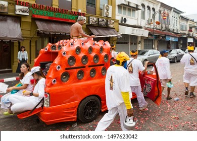 Phuket, Thailand - Oct 2016: Car Audio Show systems. Powerful amplifiers, loudspeaker, subwoofers on pickup trucks at Phuket Vegetarian Festival. The loudest and most tuned pickups in Thailand