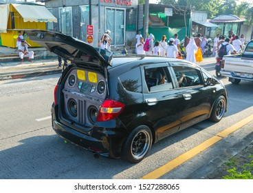 Phuket, Thailand - Oct 2019: Car Audio Tuning in Thailand. Powerful speakers and subwoofers, amplifiers and receivers for pumped cars in Thailand at the Phuket Vegetarian Festival.