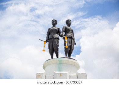 Phuket, Thailand - Oct 25th 2016: Two Heroines Monument is a memorial statue of the Heroines Thao Thep Kasattri and Thao Sri Sunthon, who rallied islanders in 1785 to repel Burmese invaders