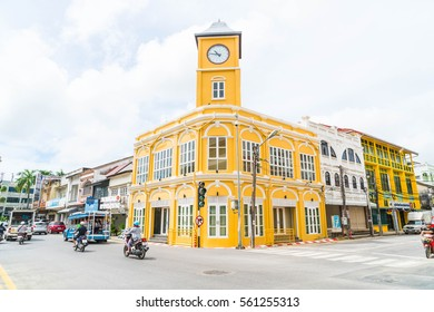 PHUKET, THAILAND -OCT 30, 2016, Phuket town, Thailand: Phuket old town with old buildings in Sino Portuguese style is a very famous tourist destination of Phuket.