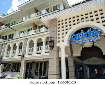 Phuket Thailand - October 1, 2019:  The iconic Pride Beach  Resort hotel promotes it's gay acceptance.