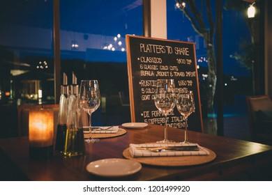 Light Nights Restaurant Italian Images Stock Photos