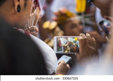 Phuket, Thailand - October 18, 2015: Ceremony before parade of devotees along old town street of Phuket town in vegetarian festival.