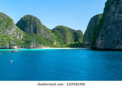 PHUKET, THAILAND - OCTOBER 27, 2018: One of many beaches found within the Phi Phi islands off the coast of Phuket.