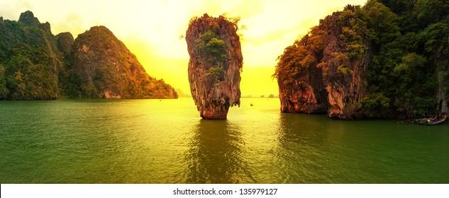 Phuket Thailand panoramic travel photography at sunset of exotic James Bond island