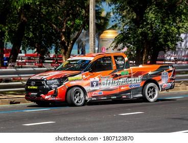 Phuket, Thailand - Sept, 2020: Pickup truck race. Custom Toyota Hilux Revo with sports body kit and Lenso tuning on yokohama tires