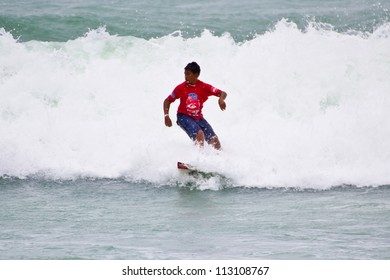 PHUKET THAILAND SEPTEMBER 16: Unidentified surfer at 2012 Asian Surfing Championship in Quiksilver Open Phuket Thailand 2012, on September 16, 2012 at Patong Beach in Phuket Thailand.
