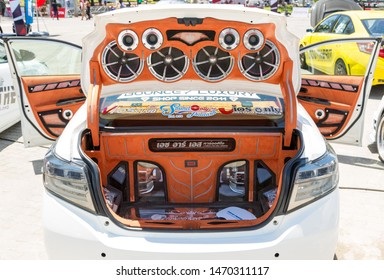Phuket, Thailand - September 2018: Audio Car Tuning of Toyota Yaris at Toyota Motor Show in Saphan Hin Park, Phuket Island, Thailand. Car audio speaker, subwoofer installation. Toyo tires, Lenso