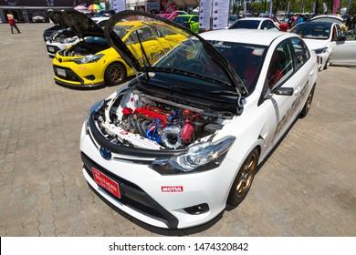 Phuket, Thailand - September 2018: Tuning of Toyota Yaris, Vios, Corolla Altis at Toyota Motor Show in Saphan Hin Park, Phuket, Thailand. Toyo tires, Lenso, TRD, Samsung, Gazoo Racing. Race cars.