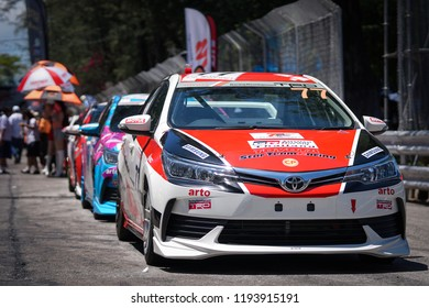 Phuket, Thailand- September 23, 2018 : Toyota Motorsport event, Toyota Motorsport is a showcase of all Toyota vehicles and a speed tournament at Sapanhin Phuket Road every year.