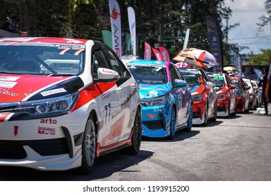 Phuket, Thailand- September 23, 2018 : Toyota Motorsport , Toyota Motorsport is a showcase of all Toyota vehicles and a speed tournament at Sapanhin Phuket Road that open to public.
