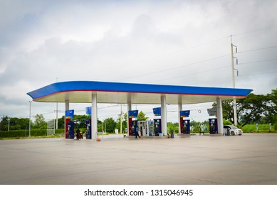 Phuket Thailand - September 24 2018 : Gas station pump fuel with cars use service in PTT gas station oil