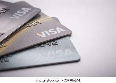 PHUKET, THAILAND - SEPTEMBER 3 : Macro of credit cards ,VISA card. Selective focus. Studio shot in Phuket on September 3, 2017