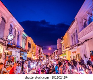 "PHUKET, THAILAND - ""Phuket Walking Street (Lard Yai)"" Sunday Walking Street Market. Great shopping, great food ,great cafes and shops too in Phuket Old Town. Sunset on January 28, 2018."