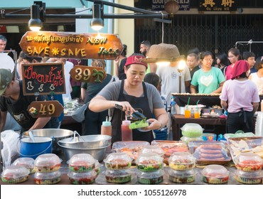 """PHUKET, THAILAND - """"Phuket Walking Street (Lard Yai)"""" Sunday Walking Street Market. Street food is well prepared with a lid closed. Clean and hygienic condition sold in Phuket Old Town. March 25, 2018"""