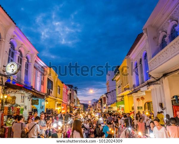 "PHUKET, THAILAND - ""Phuket Walking Street (Lard Yai)"" Sunday Walking Street Market. Great shopping, great food ,great cafes and shops too in Phuket Old Town. on January 28, 2018."