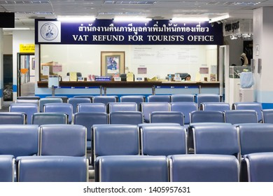 Phuket, Thailand-May 11th 2015. Phuket International Airport Vat refund office. Tourists are able claim back VAT payments.