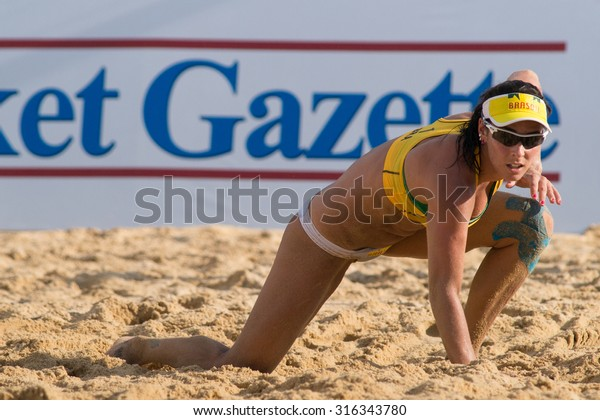 PHUKET, THAILAND-NOVEMBER 2: Agatha Bednarczuk of Brazil in action during Day 4 of Phuket Open on November 2, 2013 at Karon Beach in Phuket, Thailand