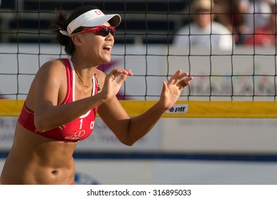 PHUKET, THAILAND-NOVEMBER 2: Chen Xue of China reacts after winning a point during the semi final match on Day 4 of Phuket Open on November 2, 2013 at Karon Beach in Phuket, Thailand