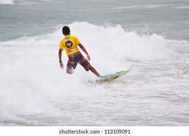 PHUKET THAILAND-SEPTEMBER 16: Unidentified surfer at 2012 Asian Surfing Championship in Quiksilver Open Phuket Thailand 2012, on September 16, 2012 at Patong Beach in Phuket Thailand.