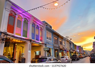 Phuket Town, Thailand - April 29, 2017: Every evening the sino-portuguese style buildings of Thalang Road are lit by color-changing LEDs.