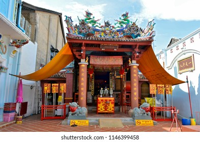 Phuket Town, Thailand - April 29, 2017: Ting Kwan Tang, which means Shrine of The Serene Light, is a Chinese shrine on Phangnga Road.