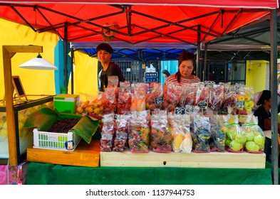 Phuket Town, Thailand - April 30, 2017: Each Sunday at the end of the day a huge street food market takes place at Thalang Road till late in the night.