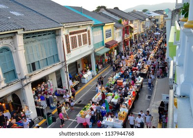 Phuket Town, Thailand - April 30, 2017: Each Sunday at the end of the day a huge street food market takes place in Thalang Road till late in the night.