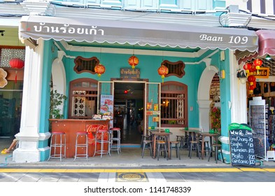 Phuket Town, Thailand - April 30, 2017: Nifty bar in a sino-portuguese building of Thalang Road.