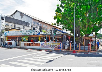 Phuket Town, Thailand - April 30, 2017: Lock Tien restaurant is a famous food center at the intersection of Dibuk Road and Yaowarat Road, attended by locals and Thai tourists.