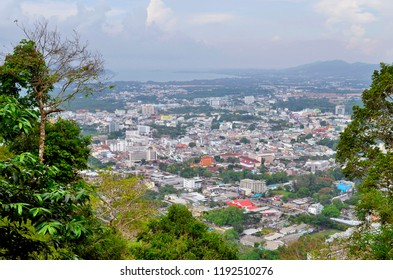 Phuket Town, Thailand - April 30, 2017: High angle view of Phuket Town from Khao Toh-Sae Viewpoint on Monkey Hill.